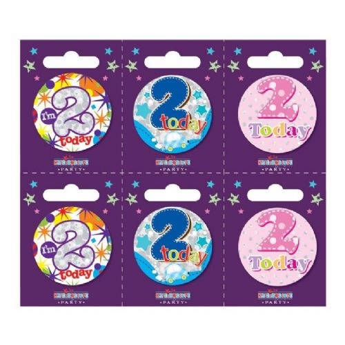 Age 2 Small Badges (6 assorted per perforated card) (5.5cm)